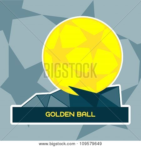 Golden Ball Soccer Prize On A Stand