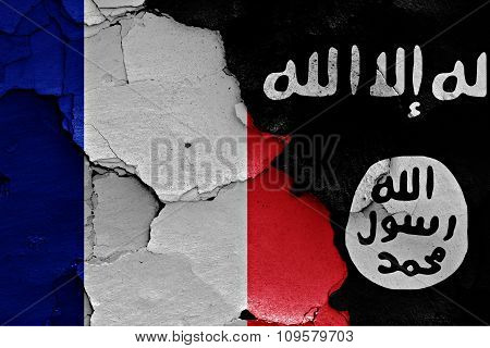 Flags Of France And Isil Painted On Cracked Wall