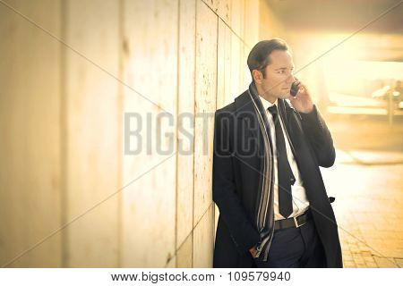 Handsome manager calling