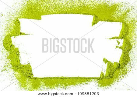 Border Surface Close Up Of Powdered Green Tea Isolated On White