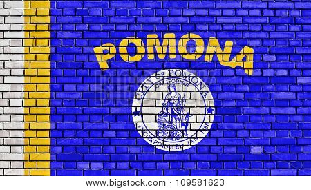 Flag Of Pomona Painted On Brick Wall