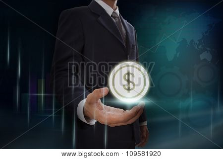 Businessman showing dollar symbol on screen. business concept