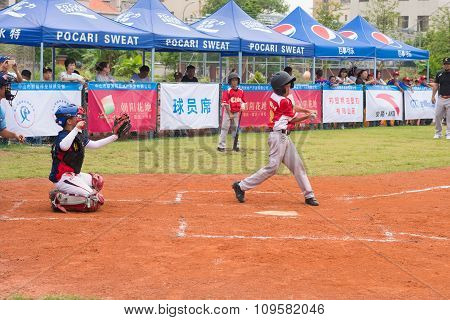 ZHONGSHAN PANDA CUP,ZHONGSHAN,GUANGDONG-July 23:batter hit the ball & the ball bounced up in a match