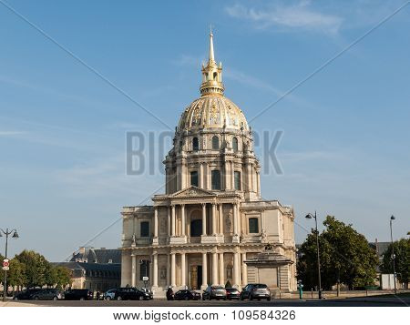 PARIS, FRANCE - SEPTEMBER 9,  2014: View of Dome des Invalides burial site of Napoleon Bonaparte Paris France