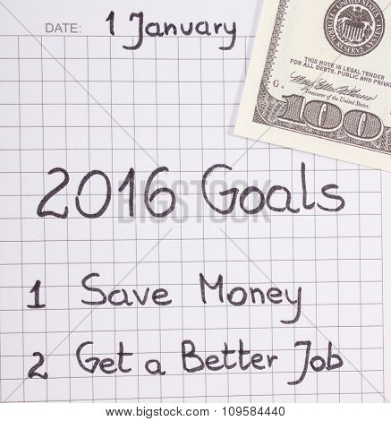 New Years Resolutions Written In Notebook And Currencies Dollar
