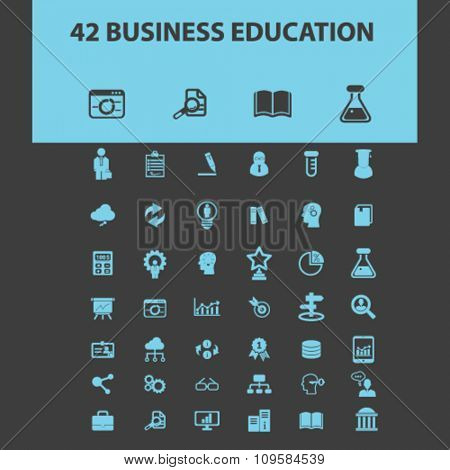 business education, training  icons, signs vector concept set for infographics, mobile, website, application