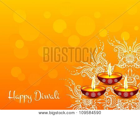 White text calligraphy inscription Happy Diwali festival India with lamp oil balls on orange backgro