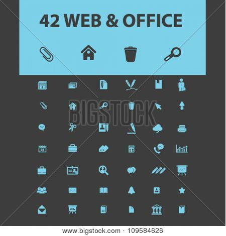 web, computer office, business icons, signs vector concept set for infographics, mobile, website, application