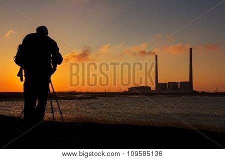 Photographer On A Background Of Red Dawn, Pictures Of Plant