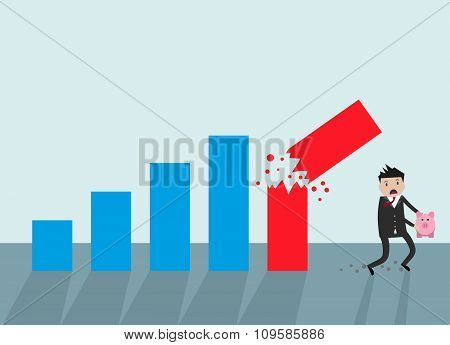 Businessman running away broken graph