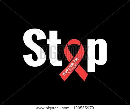 Stop AIDS - 1st December AIDS day template red ribbon on a black background with shadow. Vector illu