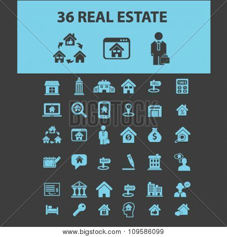 real estate, agent, agency, buildings  icons, signs vector concept set for infographics, mobile, website, application