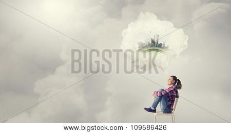 Teenager girl sitting in chair and cloud bubble above her head