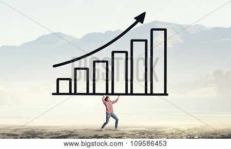Young girl student carrying increasing graph concept
