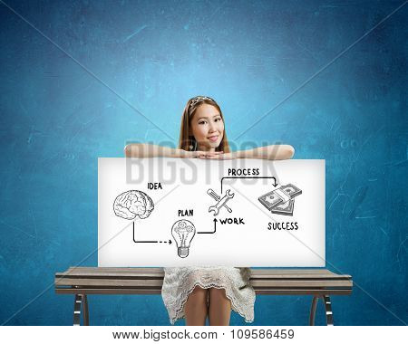 Asian woman holding banner with drawn money earning concept