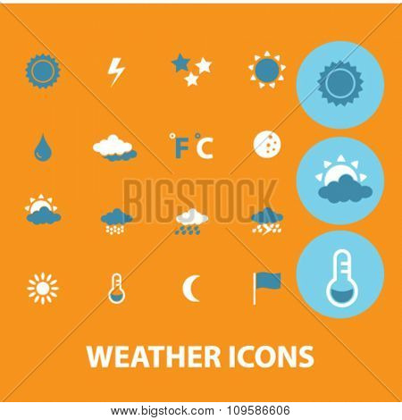 weather, climate icons, signs vector concept set for infographics, mobile, website, application