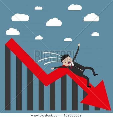 businessman falling from the chart