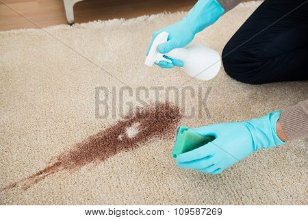 Man Spray Bottle And Sponge Cleaning Red Wine On Rug