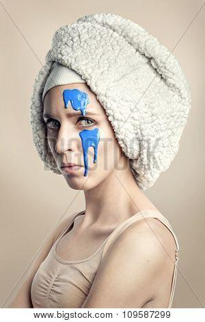 Woman beauty original portrait with blue
