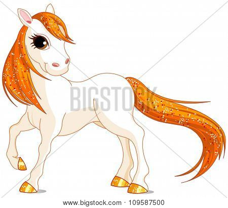 Illustration of magic beautiful white horse