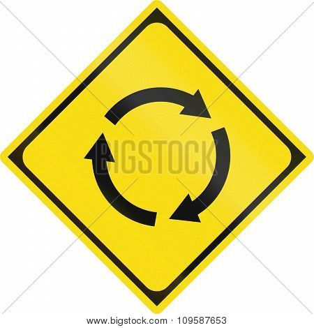 Japanese Road Warning Sign Roundabout Or Traffic Circle