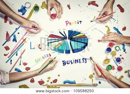 People hands drawing business growth concept with paints