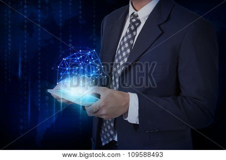 Businessman pressing tablet with digital social media network. internet concept