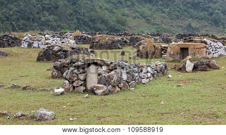 Ancient megalithic tomb, old stone grave; traditional bury
