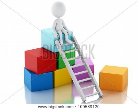 3D White People Climbing Ladders To Get To The Top.