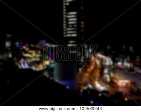 Blurred / Defocussed Abstract Background Of A City Nightlife Taken In Japan