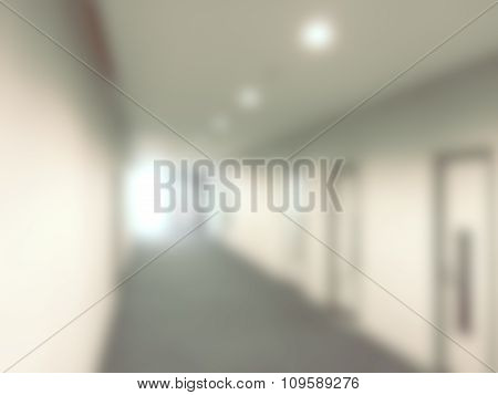 Blurred / Defocussed Abstract Background Of A Office Corridor With Vintage Color Effects
