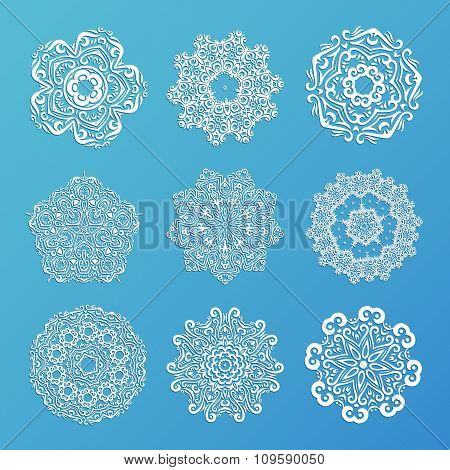 Set Of Ornamental Snowflakes. Indian Mandala Style. Element For Design. Round Lace. It Can Be Used F