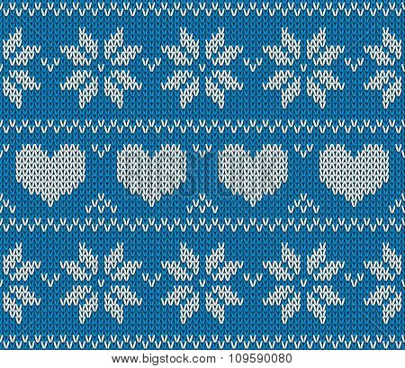 Blue Knitted Stars And Hearts Sweater In Norwegian Style. Knitted Scandinavian Ornament.  Vector Sea