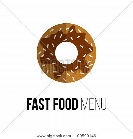 Lunch Chocolate Donut Isolated On White. Flat Design. Logo For Fast Food Restaurant. Vector Poster O
