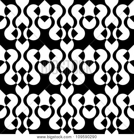 Seamless Oriental Ornament. Abstract Black and White Background. Vector Geometric Pattern