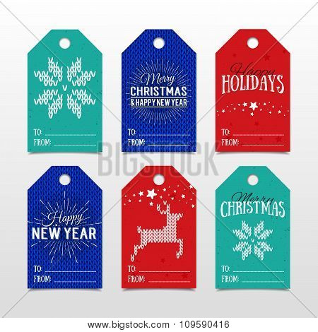Colorful Paper Tags For Presents With Happy Holidays, Merry Christmas And Happy New Year Lettering.