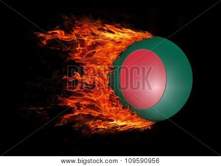Flag With A Trail Of Fire - Bangladesh