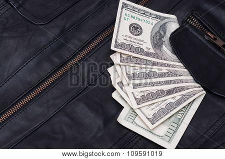 Money Near The Pocket Leather Jacket