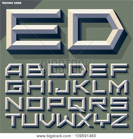 Vector 3D old school  beveled alphabet in techno style with shadow. Simple colored version.