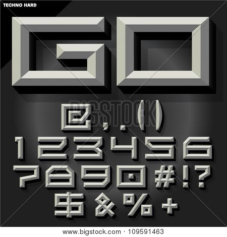 Vector 3D set of black and white beveled symbols and numbers in techno style with shadow.