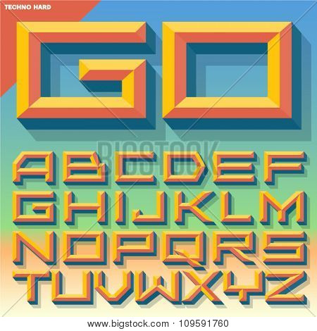 Vector 3D summer beveled alphabet in techno style with shadow. Multicolored version.