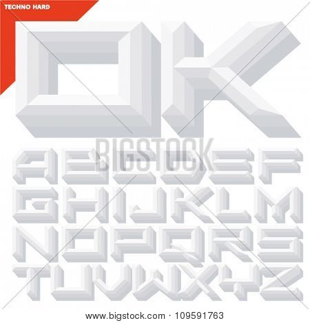 Vector 3D white beveled alphabet in techno style with shadow. Simple colored version.