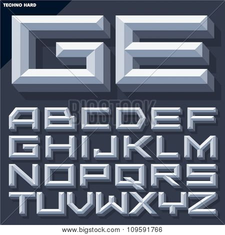 Vector 3D grey beveled alphabet in techno style with shadow. Simple colored version.
