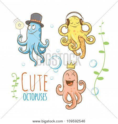 Cartoon Octopuses Set.
