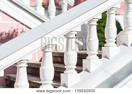 Exterior Retro Style Stair With Ornate Railing
