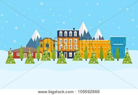 City in the winter. Winter season. Urban landscape