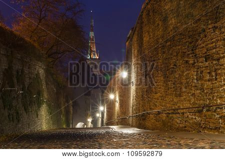 Pikk Jalg Street Illuminated By Night, Tallinn, Estonia