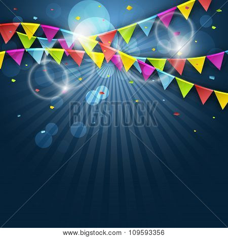 Colorful festive flags. Vector illustration with elements for celebrate.