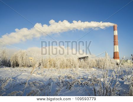 The Clouds Of Steam Coming From The Chimney In Winter .