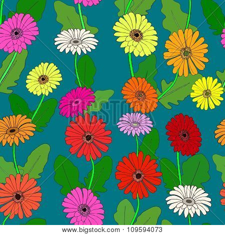 Seamless pattern with hand-drawn gerberas